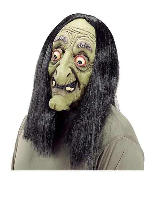 Máscara de bruja loca con pelo
