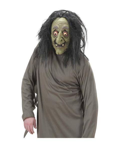 Máscara de bruja loca con pelo - para tu disfraz