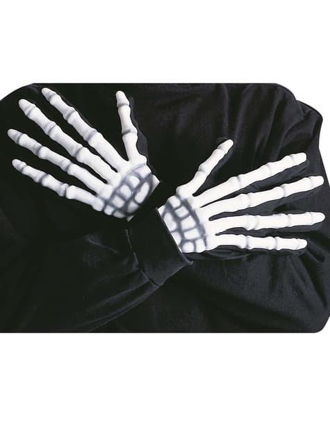 Скелетные перчатки с костями светящегося в темноте