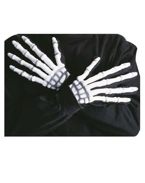 Gants de squelette avec reliefs fluorescents