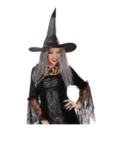 Chapéu de bruxa com cabelo grisalho Chapéu de bruxa com cabelo grisalho 8b25b077e99