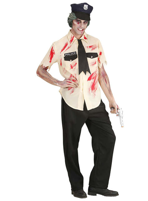 Disfraz de policía zombie ensangrentado
