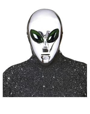 Máscara de extraterrestre plateado