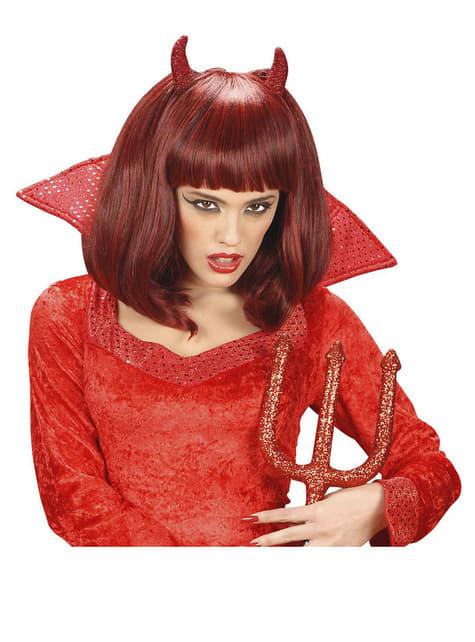Perruque rouge de diablesse maligne