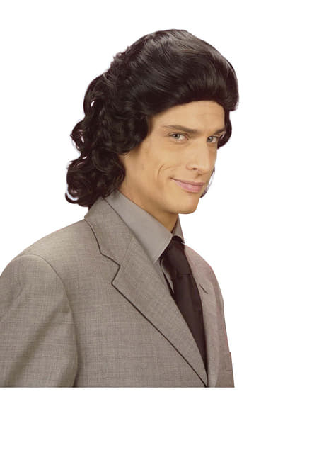 Чоловіча чорна перука 1970-х років