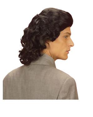 Mens Black 1970s Wig