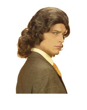 Miesten ruskea 1970- luvun peruukki
