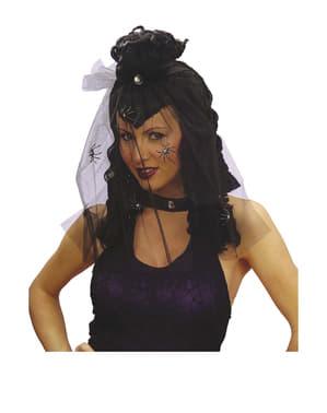 Peruca de dama da escuridão com véu