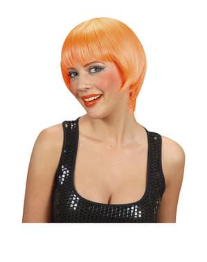 Peruca rave cor de laranja fluorescente