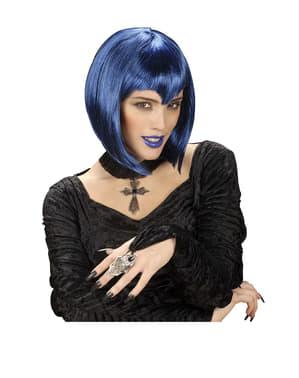 Blauwe gothic vampier pruik
