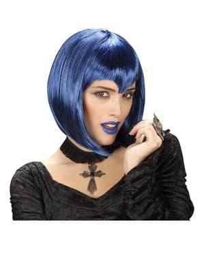 Peruka wampirzyca gotycka niebieska