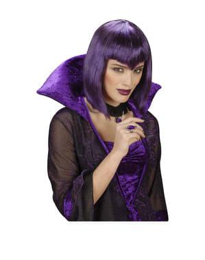 Violet farvet gotisk kvindevampyrparyk