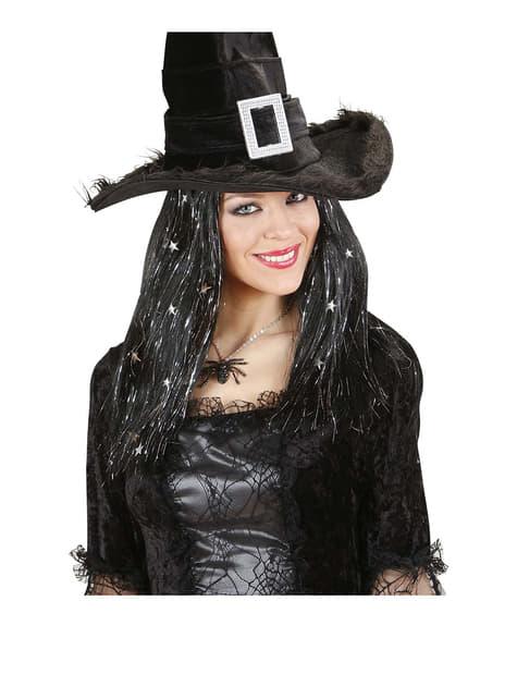 Peluca negra de bruja con tinsel y estrellas