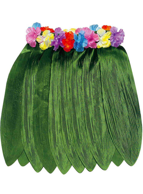 Gonna hawaiana in tela verde