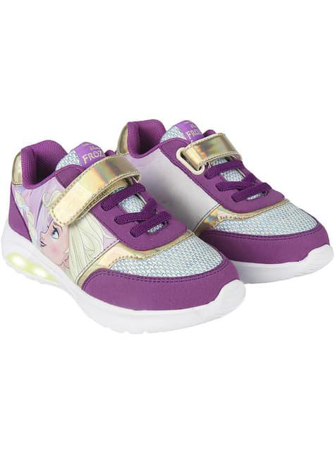 Baskets Elsa violettes lumineuses fille - La Reine des neiges