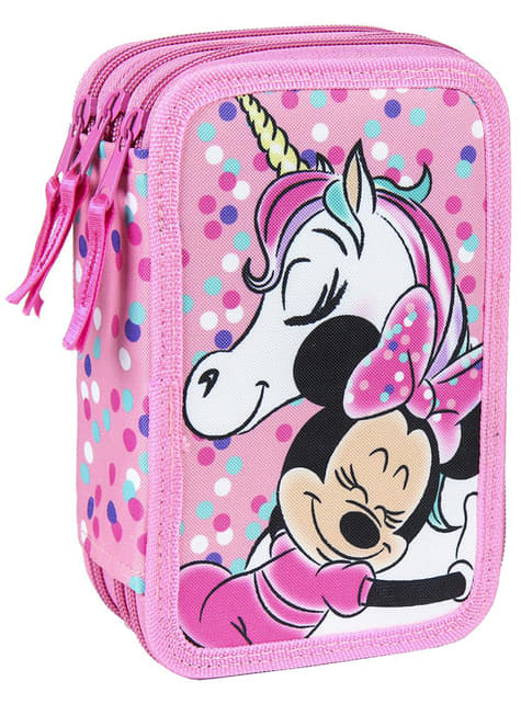 Minnie Mouse pencil case with 3 zips for girls - Disney