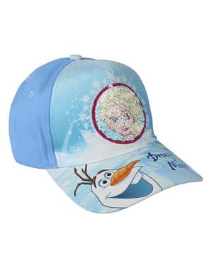 Topi Frozen Elsa dan Olaf dengan payet untuk anak perempuan