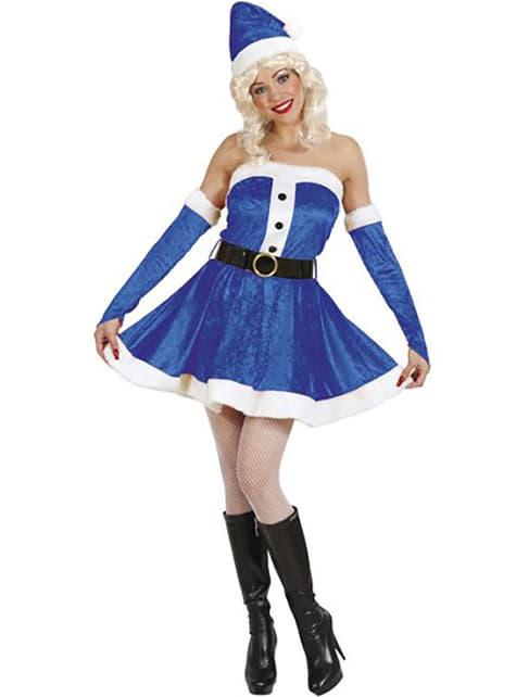 Sexy blauw helper de Kerstman Kostuum