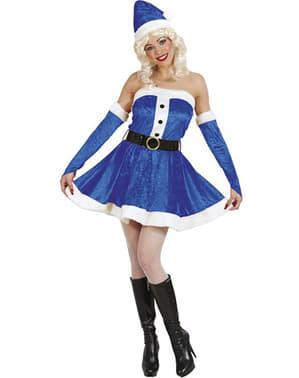 Blaues sexy Weihnachtsmann Helferin Kostüm