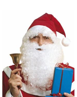 Joulupukin hattu ja parta viiksillä ja kulmakarvoilla