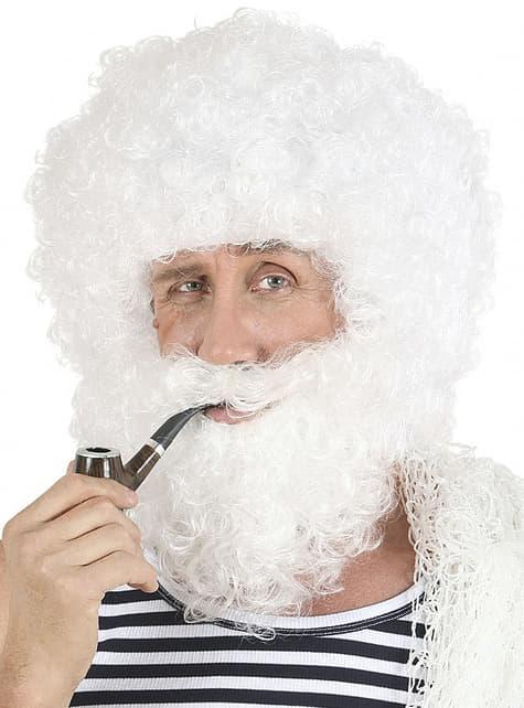Peluca y barba de viejo marinero