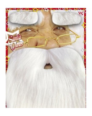 Santa Claus beard with moustache and eyebrows