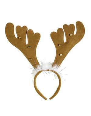 Brunt Hodebånd med reinsdyr horn