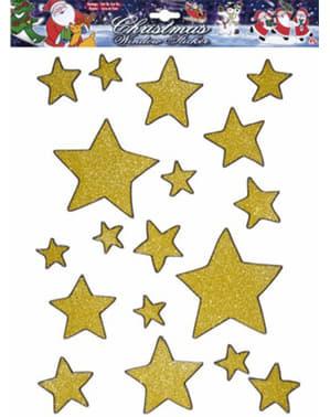 Sada 18 nálepiek na okná s hviezdami