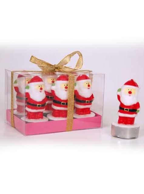 6 Weihnachtsmann Kerzen Set