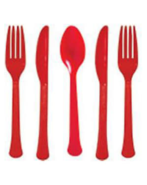 Red 24-piece cutlery set