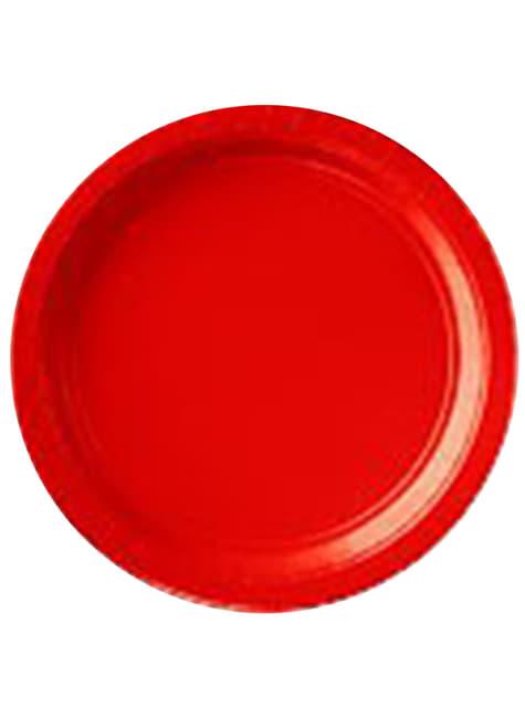 8 platos pequeños rojos (18 cm)