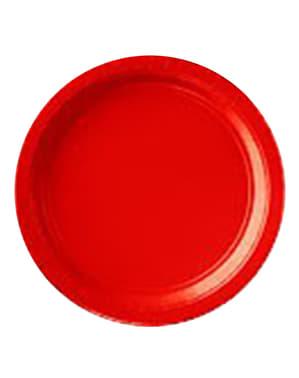 8 kleine rote Teller Set