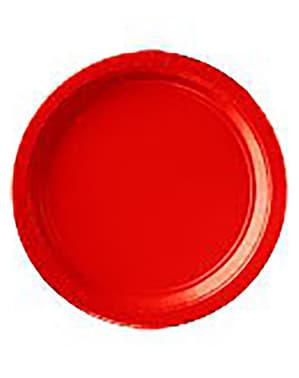 8 große rote Teller Set