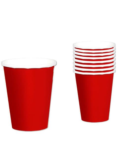 Conjunto de 8 copos vermelhos