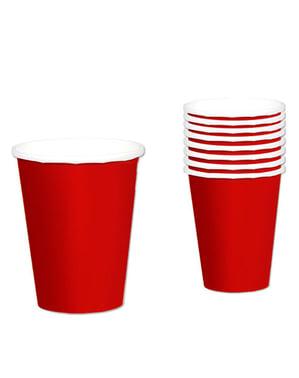 8 copos vermelhos