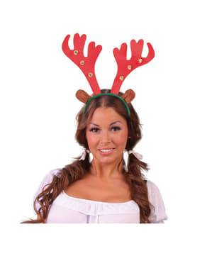 Reindeer headband with sleigh bells