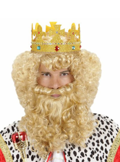 Peluca rubia con barba y bigote de rey mago