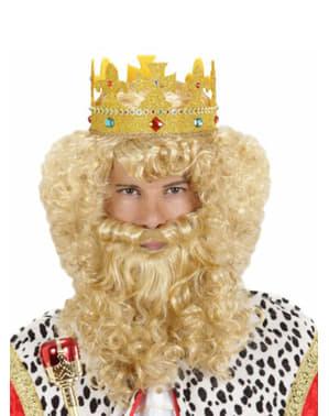 Blondi Viisas Mies-peruukki parralla ja viiksillä