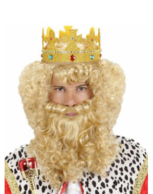 Perruque avec barbe et moustache blonde de roi mage