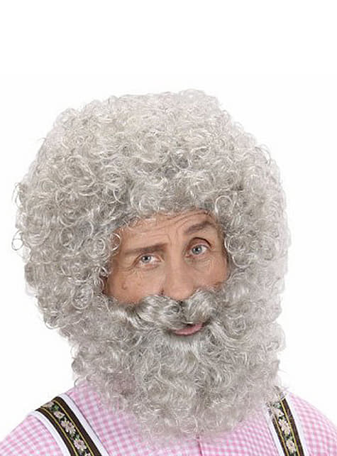 Curly grey beard and wig