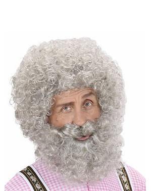 Peruca e barba cinzenta encaracolada