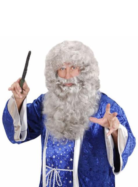 Peluca y maxi barba gris
