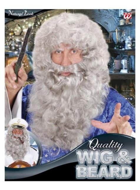 Peluca y maxi barba gris - para tu disfraz