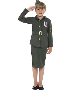 Kvinnlig krigsofficer Maskeraddräkt Barn