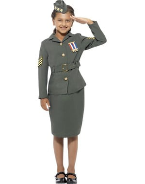 War officer costume for a girl