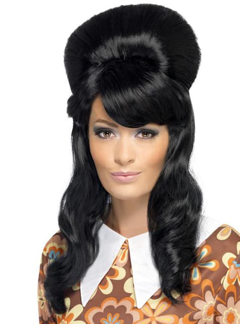 Black wig with bun