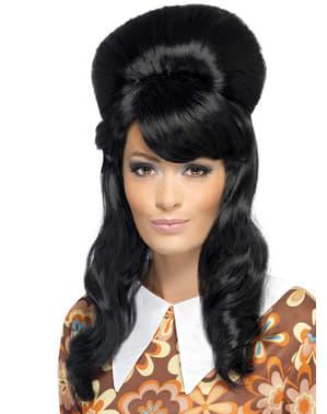 Perruque noire chignon
