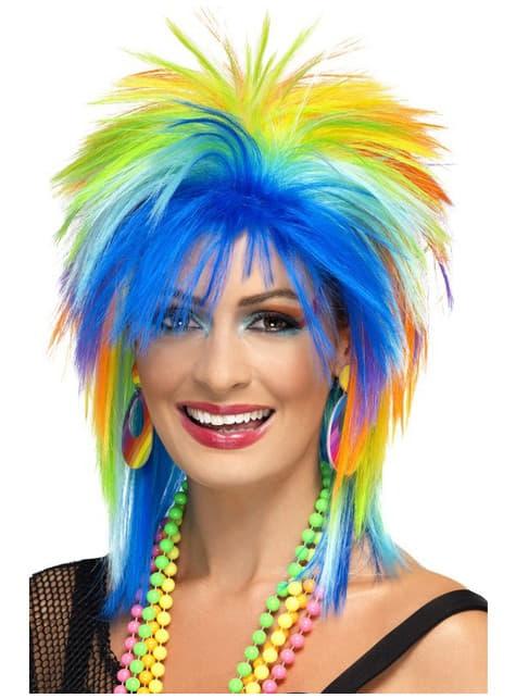 80s στυλ πολύχρωμα περούκα για τις γυναίκες
