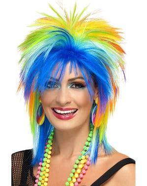 Perruque années 80 colorée femme