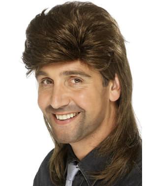 Кафява мъжка перука в стил 80-те